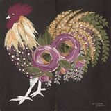 Floral Rooster on Black Art Print