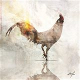 Rooster Poised Art Print