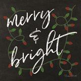 Merry & Bright Chalkboard Art Print