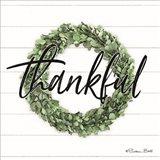 Thankful Boxwood Wreath Art Print