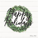 Happy Holidays Boxwood Wreath Art Print