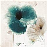 Teal Poppies II Art Print