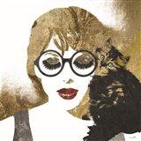 Girl and Cat Art Print