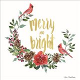 Merry and Bright Wreath with Cardinals Art Print