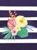 Watercolor Flowers Blue Lines I Art Print