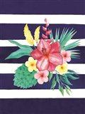 Watercolor Flowers Blue Lines II Art Print