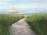 Umbrella on the Beach Art Print