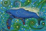 Humpback Swimming with Yellow Bubbles Art Print