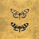 Pair of Butterflies on Gold Art Print