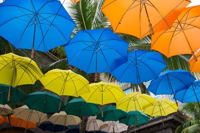 Mauritius, Port Louis, Caudan Waterfront Area With Colorful Umbrella Covering