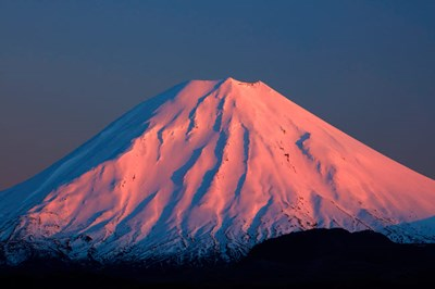 Alpenglow On Mt Ngauruhoe At Dawn, Tongariro National Park, New Zealand Art Print by David Wall / Danita Delimont