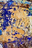 Peeling, Weathered Paint Blue and orange Art Print