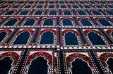 Pattern of prayer rugs, Islamic mosque, Cairo, Egypt Art Print