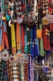 Souvenir necklaces at market in Luxor, Egypt Art Print