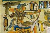 Egypt, hand painted papyrus hunting scene Art Print