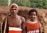 Maasai Couple in Traditional Dress, Kenya Art Print