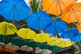 Mauritius, Port Louis, Caudan Waterfront Area With Colorful Umbrella Covering Art Print
