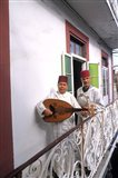 Band with Ladud Guitar on Balcony, Tangier, Morocco Art Print