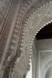 Wall tiles and carvings on Islamic law courts, Morocco Art Print