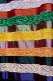 Colorful silk textiles, Fes, Morocco, Africa Art Print
