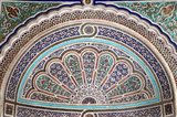 Africa, Morocco, Marrakech. Painted stucco detail at El Bahia Palace. Art Print