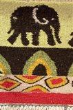 Namibia, Swakopmund. Karakulia, elephant design on wool textiles Art Print