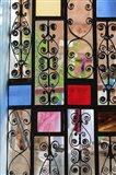 Africa, Tanzania, Zanzibar, Stone Town. Stained glass and iron door. Art Print
