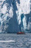 Zodiac with iceberg in the ocean, Antarctica Art Print