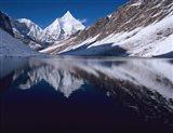 Mount Jichu Drake in Sophu lake, Jigme Dorji NP, Bhutan Art Print