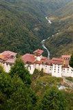 Trongsa Dzong Fortress, Bhutan rice terraces Art Print