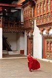 Monk at Punakha Dzong, Punakha, Bhutan Art Print