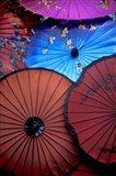 Souvenir parasols for sale at a market, Rangoon, Burma Art Print
