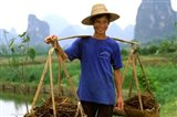 Colorful Portrait of Rice Farmer in Yangshou, China Art Print