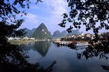 Wonderful ragged Limestone Mountains and Li River and city life of Yangshuo area of China Art Print