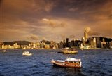 Boats in Victoria Harbor at Sunset, Hong Kong, China Art Print
