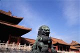 Bronze lion statue, , Forbidden City, China Art Print