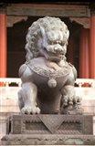 China, Beijing, Forbidden City. Bronze lion statue Art Print