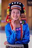 China, Yunnan, Young De'ang Woman portrait with Drum Art Print