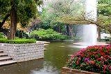 Pond With Fountain in Kowloon Park, Tsim Sha Tsui Area, Kowloon, Hong Kong, China Art Print