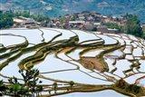 Village Beside Flooded Jiayin Terraces, Honghe County, Yunnan, China Art Print