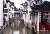 Canal Seperates White Ming Buildings, Suzhoul, Jiangsu, China Art Print