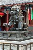 China, Beijing. Bronze lion sculpture, Fragrant Hill Art Print