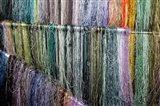 China, Suzhou. Hanging silk threads, market Art Print