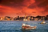Hong Kong Harbor at Sunset, Hong Kong, China Art Print