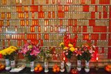 Flowers at Man Mo Buddhist Temple, Hong Kong Art Print