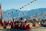 Tibetan Ceremony in Shanti Stupa, Leh, Ladakh, India Art Print