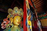 Dalai Lama Picture Beside Maitreya Buddha, Thiksey Monastery, Thiksey, Ladakh, India Art Print