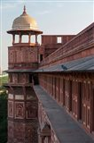 Two pigeons sit on the roof's ledge, Agra fort, India Art Print