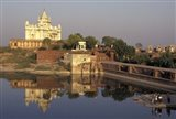 Temple Reflection and Locals, Rajasthan, India Art Print