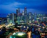 Aerial View of Singapore at Night Art Print